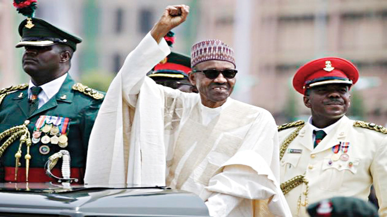 Buhari at Eagle Square, Abuja, during his inauguration as the fifth President of the fourth Nigerian Republic.