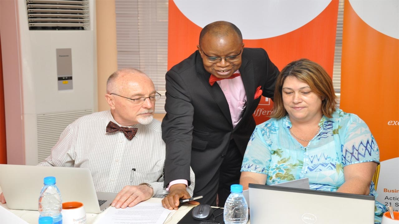 BSN CEO, Nigeria, Lere Baale and CEO Business School Netherland, Juanita Bouwer during a press briefing on the visiting BSN CEO and External Examiners