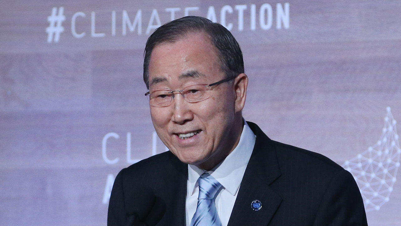 WASHINGTON, DC - MAY 05: UN Secretary-General Ban Ki-moon speaks during the Climate Action 2016 Summit at the Willard Hotel, May 5, 2016 in Washington, DC. The summit is taking place two weeks after the signing ceremony of the Paris Agreement.   Mark Wilson/Getty Images/AFP
