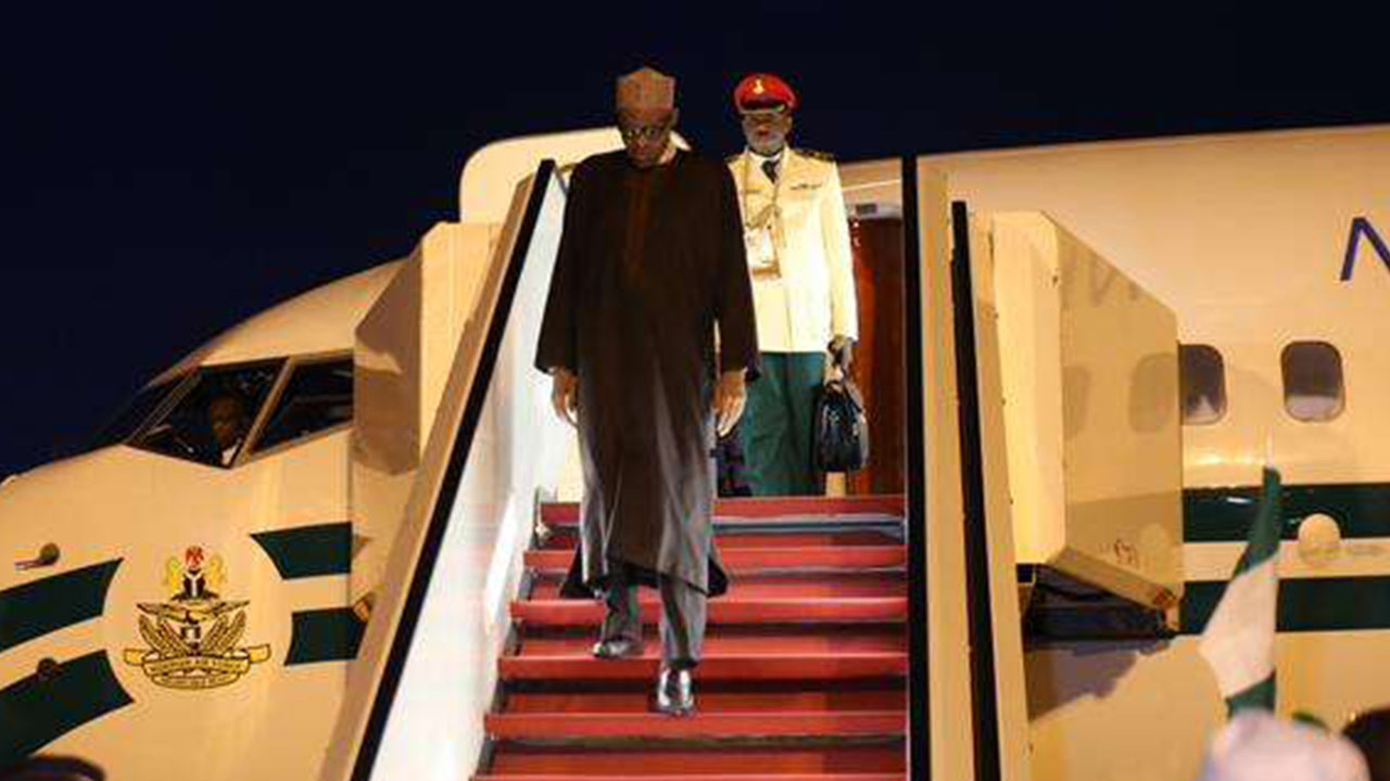 President Muhammadu Buhari returns to Nigeria from South Africa after attending the African Union Summit.