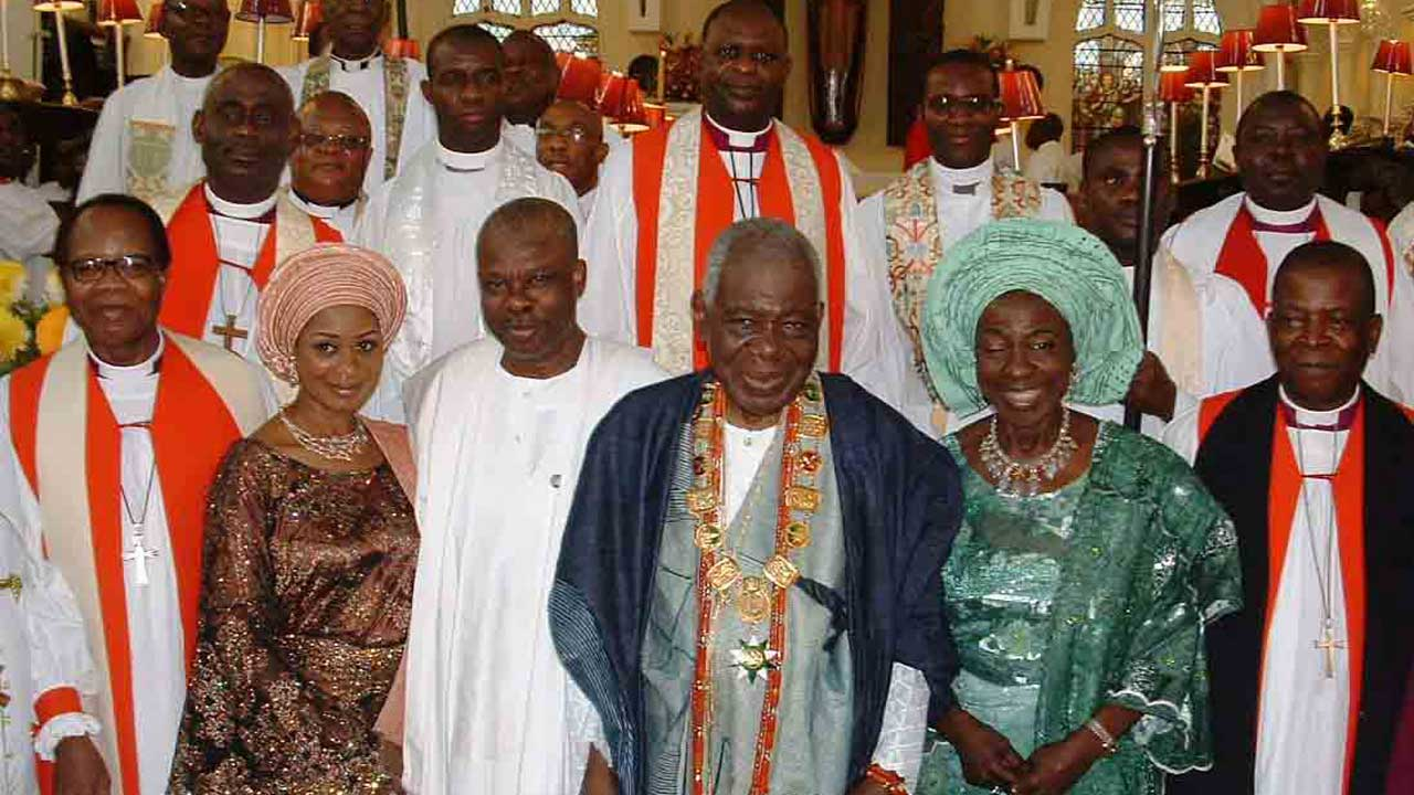 FROM LEFT: THE DIOCESAN AND DEAN EMERITUS, ANGLICAN DIOCESE OF LAGOS, MOST REV. ADEMOLA ADEMOWO; WIFE OF OGUN STATE GOVERNOR,MRS OLUFUNSO AMOSUN; GOV.IBIKUNLE AMOSU OF OGUN STATE; CELEBRANT, CHIEF ERNEST SHONEKAN; HIS WIFE, MARGARET AND PRELATE, ANGLICAN CHURCH OF NIGERIA, MOST REV. NICHOLAS OKOH, AT THE HOLY COMMUNION AND THANKSGIVING SERVICE FOR THE 80TH BIRTHDAY OF CHIEF  ERNEST SHONEKAN, IN LAGOS ON MONDAY