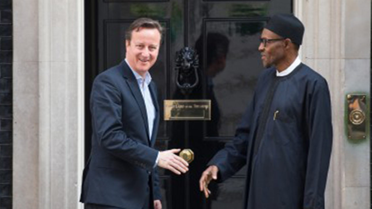 David Cameron (left) and President Muhammadu Buhari