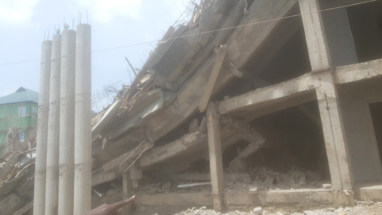 The collapsed building in Abeokuta