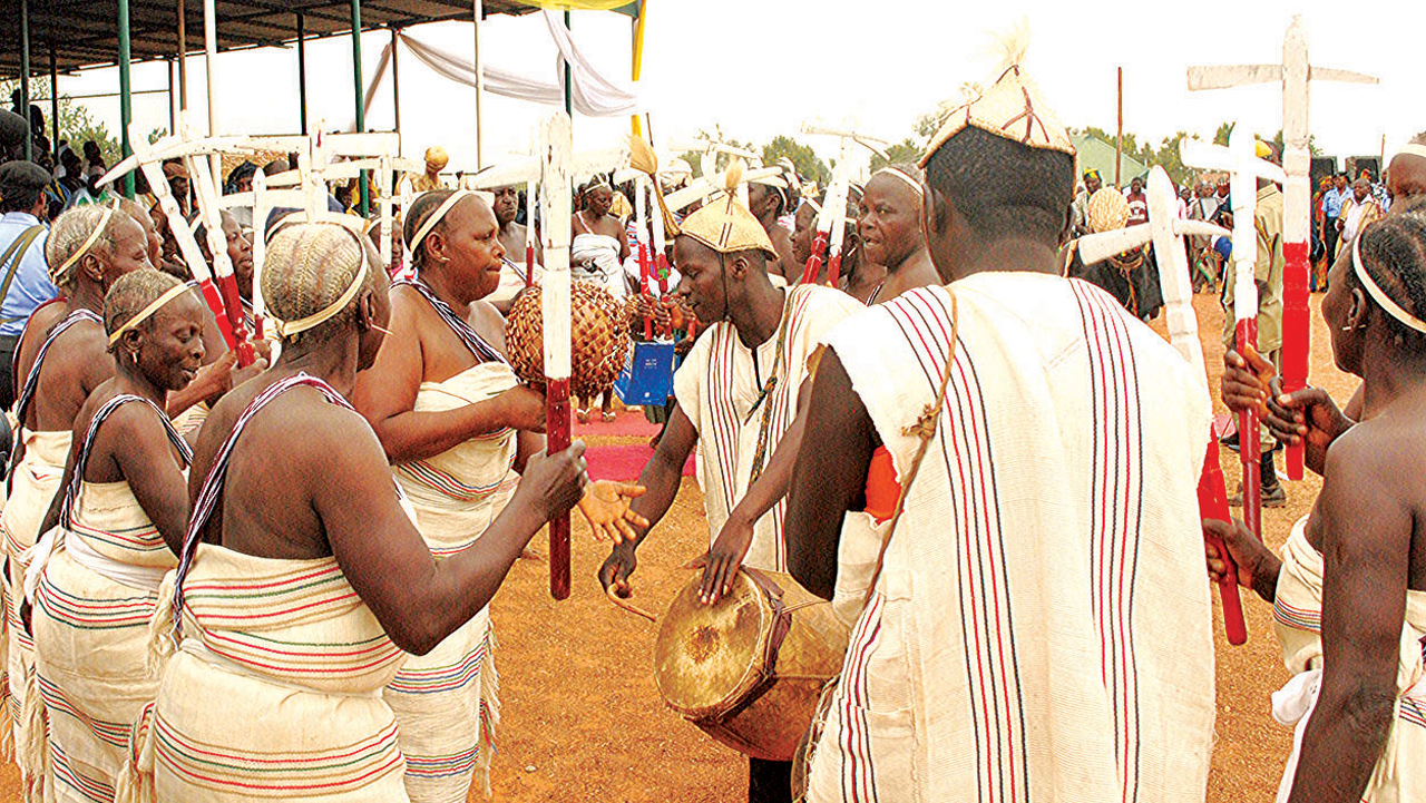 Mwaghavul cultural group on display at the 2016 Puust kaat yearly Mwaghavul kingdom cultural festival in Mangu town, Mangu Local Government Area, Plateau State… last Saturday