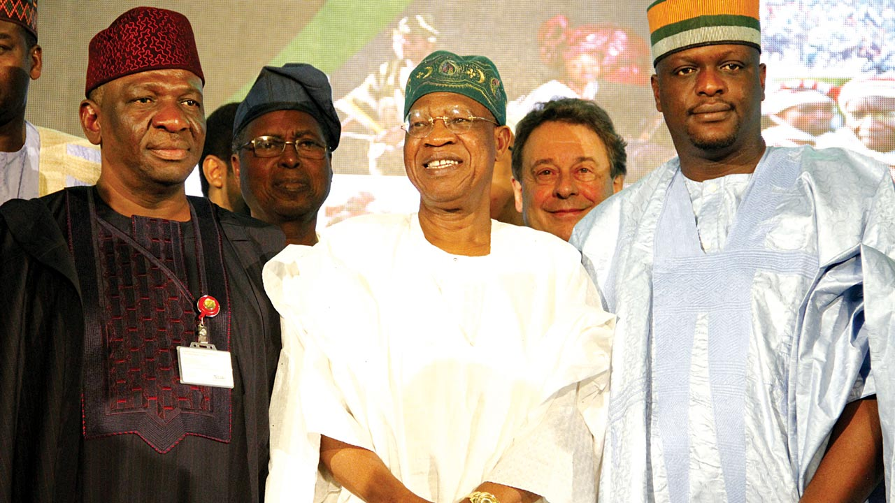 Chairman, Senate Committee on Culture and Tourism, Mattew Urhoghide (left); Minister of Information and Culture, Alhaji Lai Mohammed; and Chairman, House Committee on Culture and Tourism, Omoregie Ogbeide-Ihama at the summit