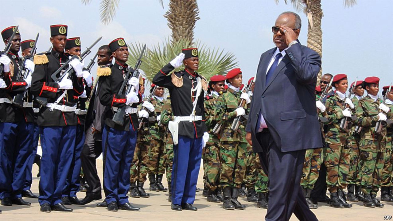 Djibouti's President Ismael Guelleh inspecting a guard of honour during his inauguration in Djibouti after his fourth re-election…yesterday PHOTO: VOA