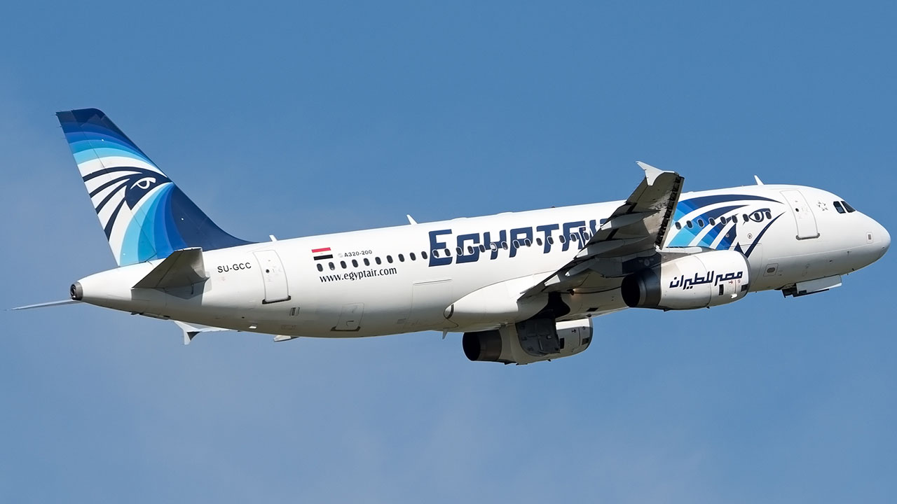 A file picture obtained by AFP shows an EgyptAir Airbus A 320-200 in the air, taken from Budapest, Hungary on May 8, 2016. Egyptian search teams combed the Mediterranean for signs of an EgyptAir flight with 66 people on board that vanished from radar en route from Paris to Cairo on May 19, 2016 the airline said. / AFP PHOTO / Andras Soos /