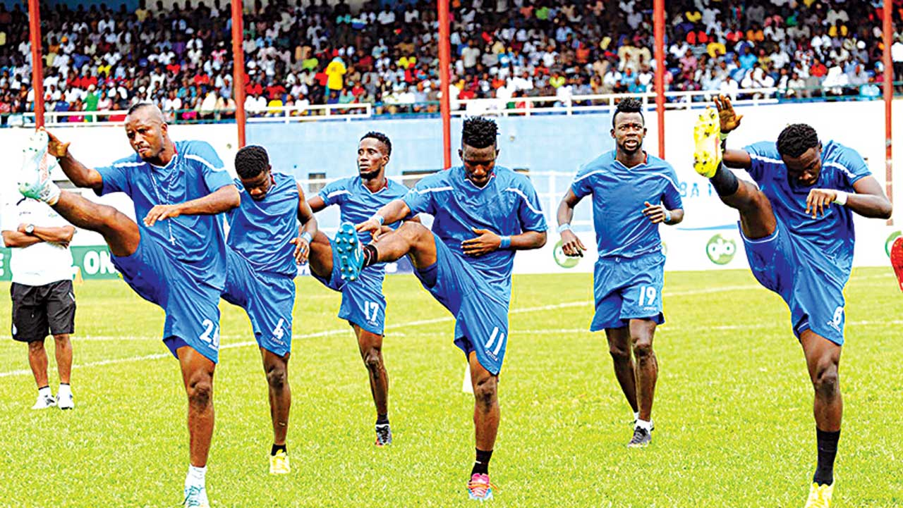 Enyimba players warming up before a match.