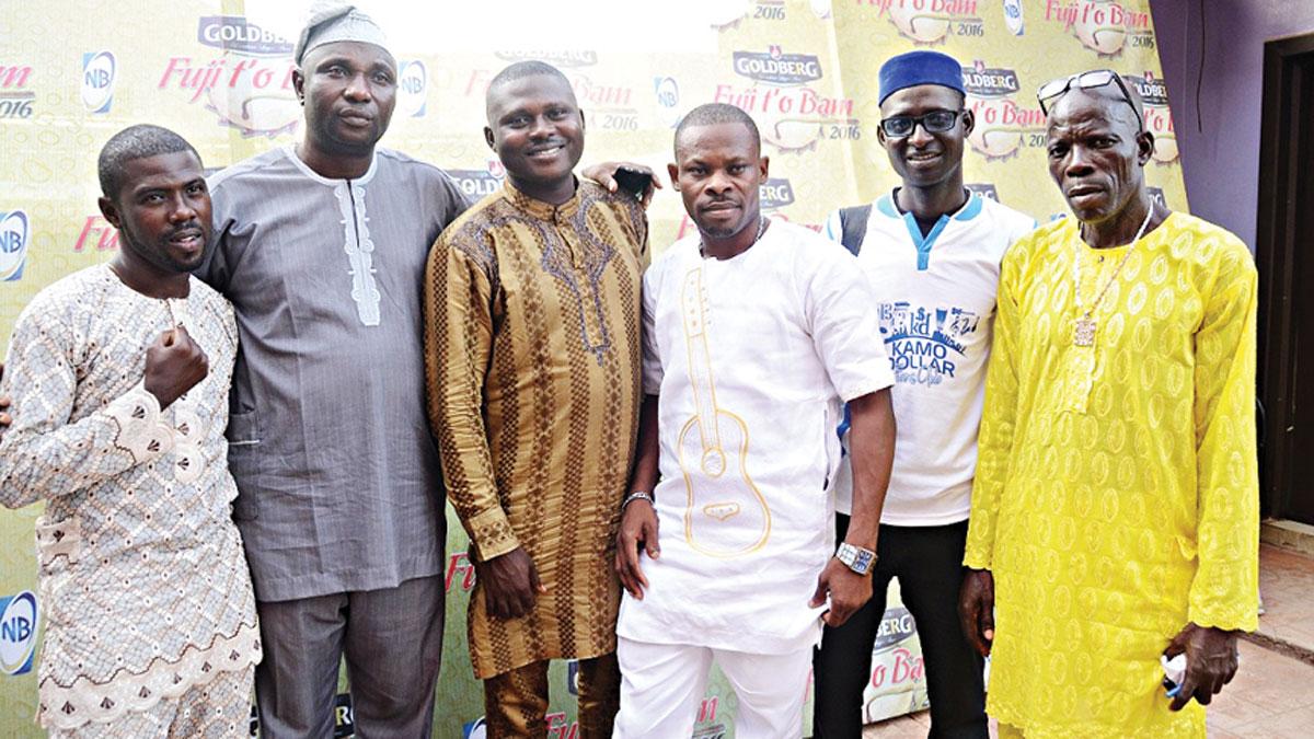Alhaji Wasiu Kosegbe (a.k.a Wase G) (left); Chairman, Panel of Judges, Alhaji Sikiru Agboola (a.k.a SK Sensation); Adekunle Abolade (a.k.a Dodo Ede); Alimi Fatai (a.k.a Jambele); Salam Wasiu (a.k.a Sir Yerima); and Alhaji Isiaka Ayinde (a.k.a Fine Kabaka) at the Goldberg Fuji t'o Bam audition held at Egbeda, Lagos… last Wednesday