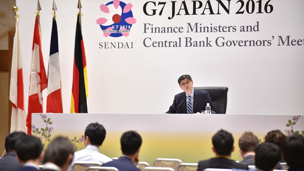 US Secretary of the Treasury Jacob J. Lew speaks during his press conference after the G7 Finance Ministers and Central Bank Governors' Meeting in Sendai, northern Japan on May 21, 2016. KAZUHIRO NOGI / AFP