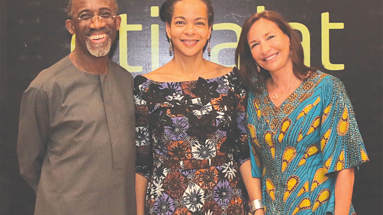 Chairman, Etisalat Nigeria; Hakeem Belo-Osagie (left),Director, Hear Word , Ifeoma Fafunwa (centre) and Deborah Willsher at the premiereof the playin Abuja...last weekend