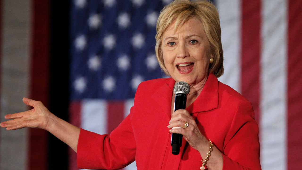 BOWLING GREEN, KY - MAY 16: Democratic presidential candidate Hillary Clinton addresses the crowd during a campaign rally at La Gala May 16, 2016, in Bowling Green, Kentucky. Clinton is preparing for Kentucky's May 17th primary.   John Sommers II/Getty Images/AFP