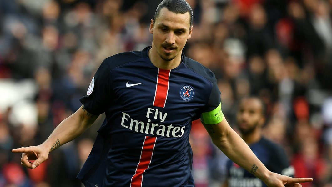 (FILES) This file photo taken on April 16, 2016 shows Paris Saint-Germain's Swedish forward Zlatan Ibrahimovic celebrating after scoring a goal during the French L1 football match between Paris Saint-Germain and Caen at the Parc des Princes stadium in Paris on April 16, 2016. For the third time Ibrahimovic was nominated best player of the Ligue 1 for the 25th edition of the UNFP (French National Professional Football players Union) trophy ceremony on May 8, 2016. / AFP PHOTO / FRANCK FIFE