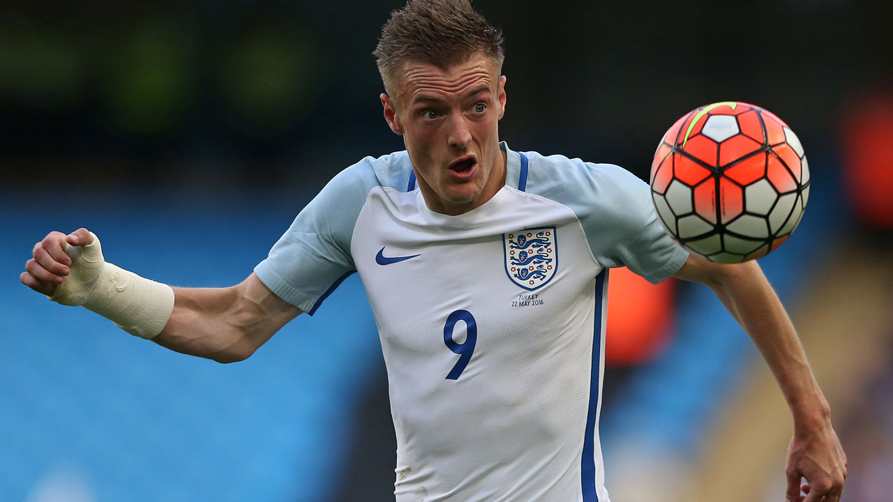 England's striker Jamie Vardy controls the ball during the friendly football match between England and Turkey at the Etihad Stadium in Manchester, north west England, on May 22, 2016. England won the match 2-1. / AFP PHOTO / Scott Heppell /