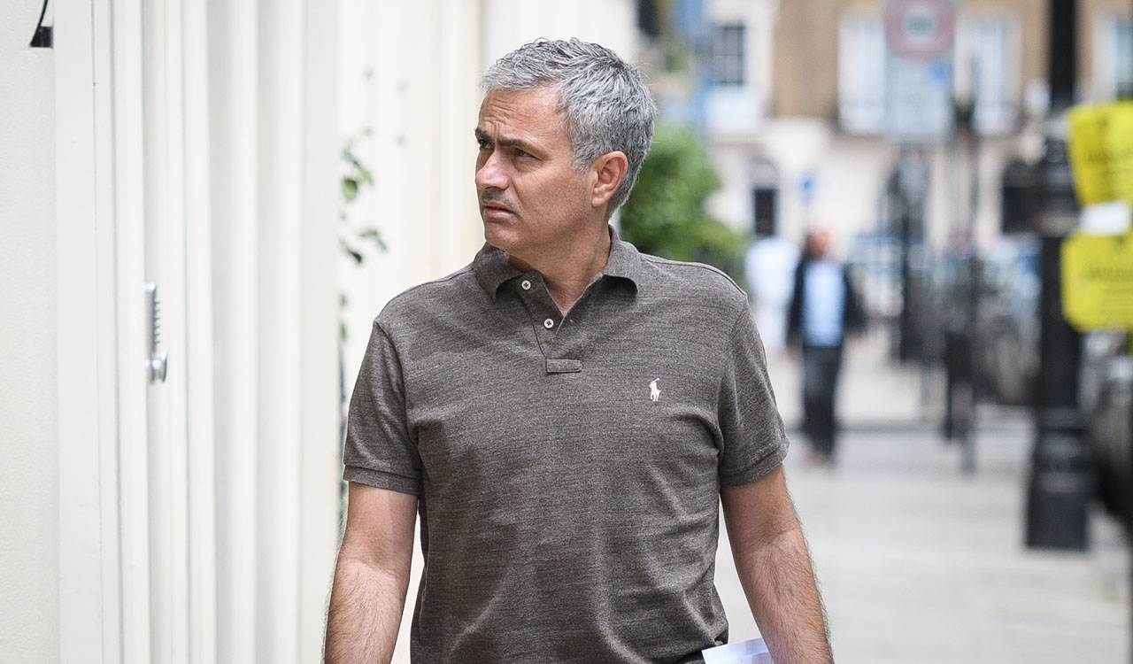 "Portuguese football manager Jose Mourinho is pictured as he returns to his home in London on May 24, 2016. Mourinho is on the verge of fulfilling his dream of managing Manchester United after Louis van Gaal's troubled two-year reign at Old Trafford came to a bitter end. Van Gaal said he was ""very disappointed"" to be sacked on May 23, just 48 hours after leading United to victory in the FA Cup final against Crystal Palace. / AFP PHOTO / LEON NEAL"