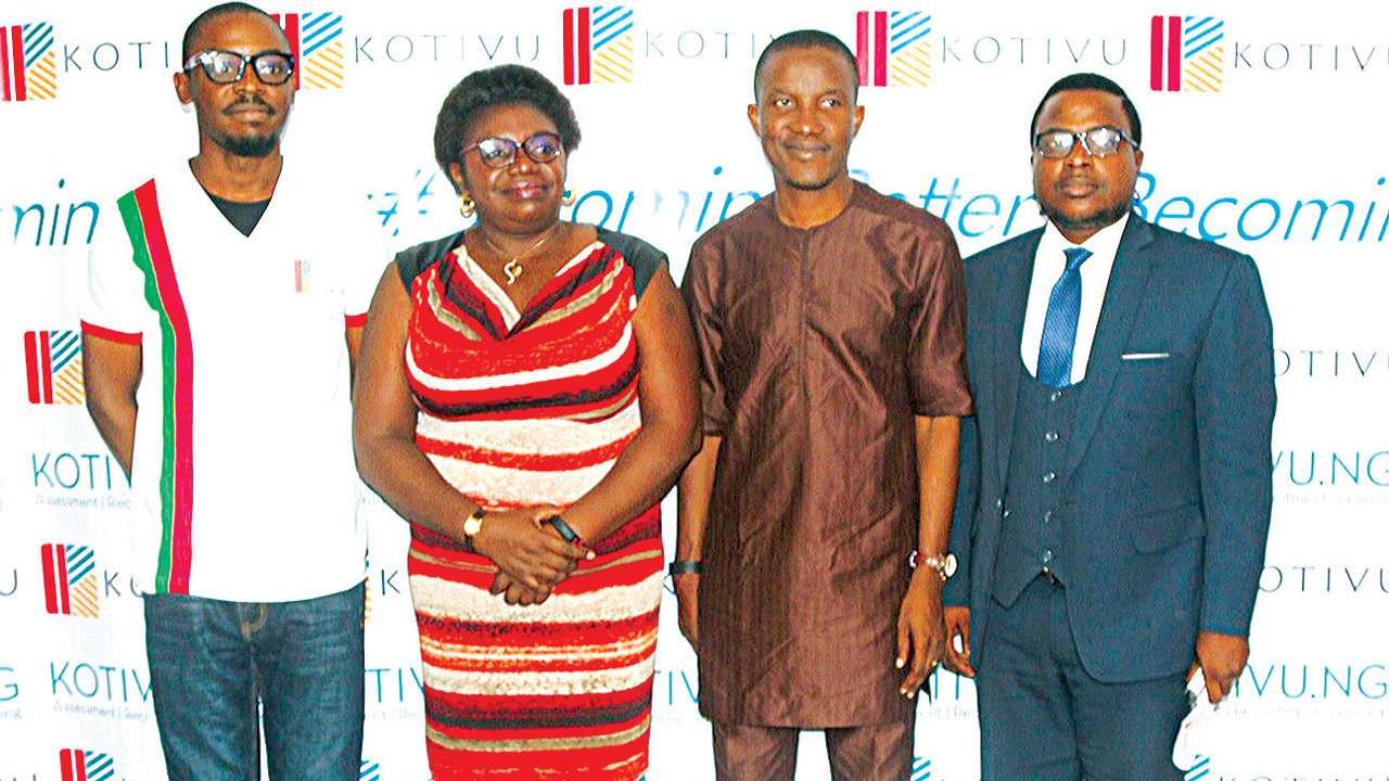 Co-founder & Senior Vice President, Kotivu, Ogho Emore (left); Chief Executive Officer, Avantage Project, Ms. Helen Ese Emore; Lead Pastor, The Elevation Church, Godman Akinlabi with Partner Perchstone & Graeys, Tolu Aderemi at formal launch of Kotivu.ng workplace e-learning platform in Lagos, at the weekend.