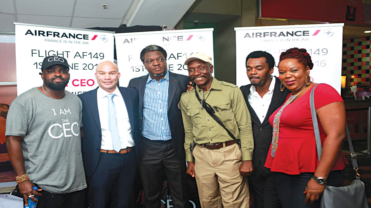 Kunle Afolayan, Mr. Authur of Airfrance, Seun Soyinka, Art Director Pat Nebo, Wole Ojo and Line Producer of the CEO movie Bose Oshin at the Press Screening of the CEO movie due for world premiere on June 1st aboard an airfrance plane