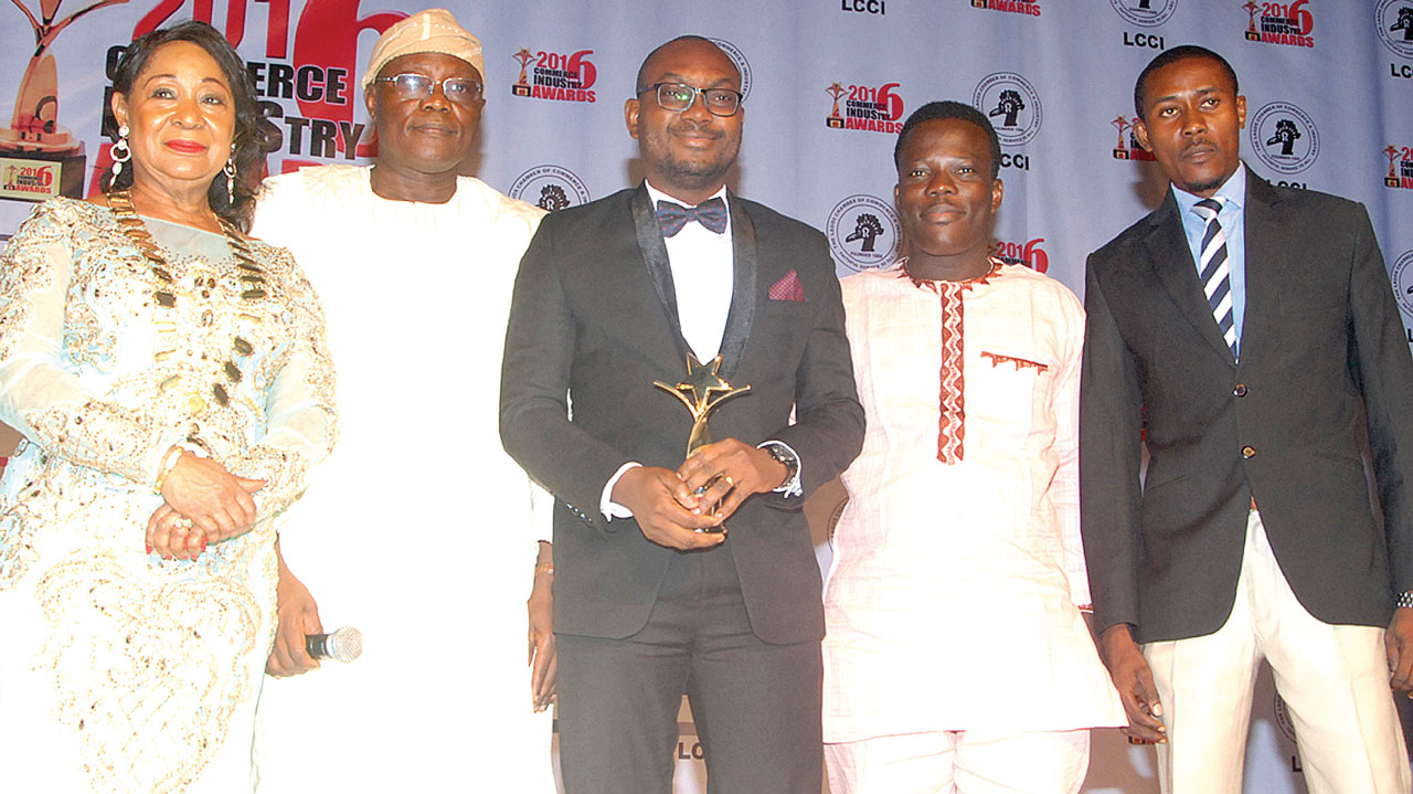 President, Lagos Chamber of Commerce and Industry (LCCI), Chief (Dr) Nike Akande (left); former President, LCCI, Alhaji Remi Bello; Marketing Director, StarTimes Nigeria, Dare Kafar; Head, Public Relations, Israel Bolaji; and Marketing Executive, Biodun Osidele during the LCCI awards presentation ceremony in Lagos.