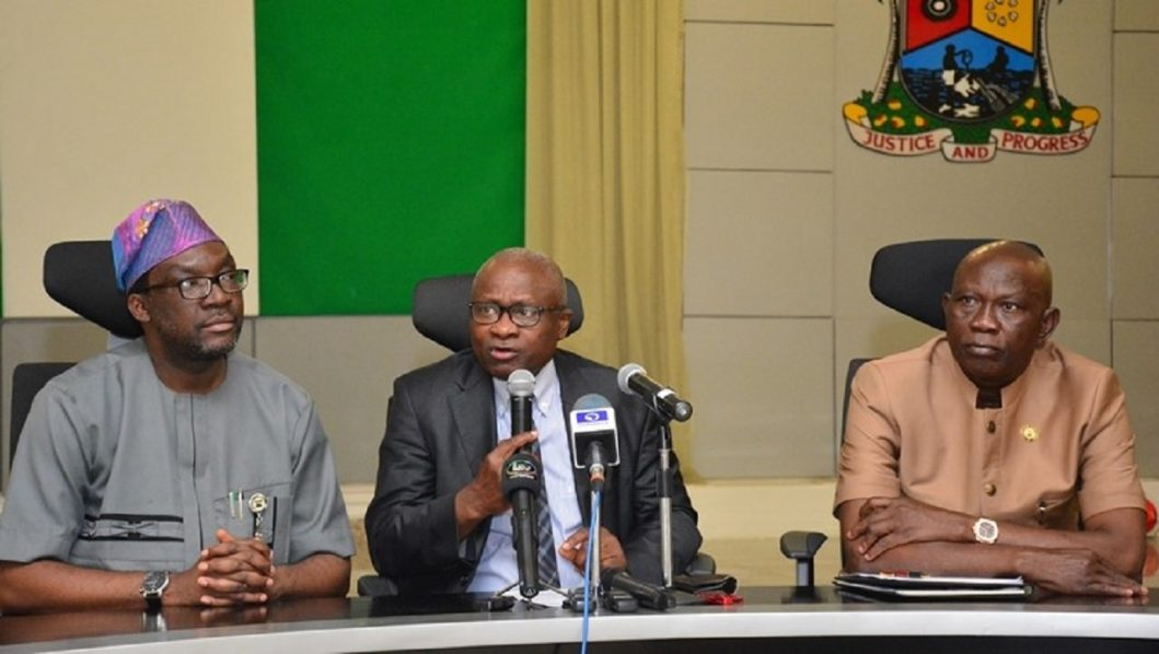 L-R: Lagos State's Commissioner for Information and Strategy, Mr. Steve Ayorinde Commissioner for Health, Dr Jide Idris and Commissioner for Physical Planning, and Urban Development, Mr. Wasiu Anifowose, briefing journalists on Lagos State's plans to build a medical park in the State on Wednesday, May 4, 2016. PHOTO: LASG
