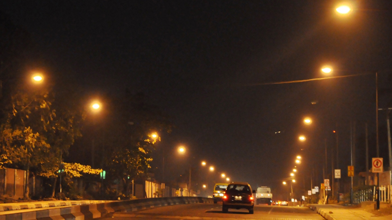 Illuminated College road, Ogba with Street Lights courtesy of the Light Up Lagos Project. PHOTO: LASG