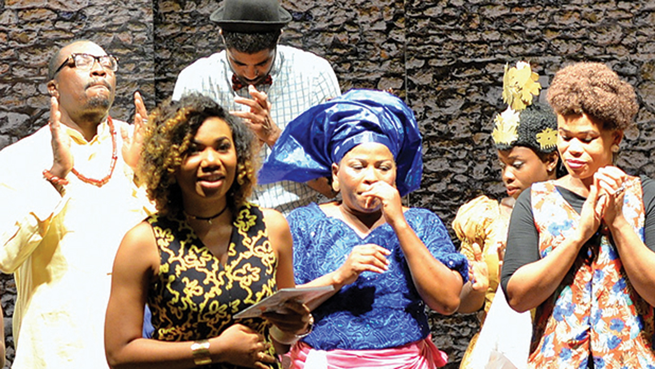 MD Katunga Media Betty Abang (second left) giving vote of thanks after the play.