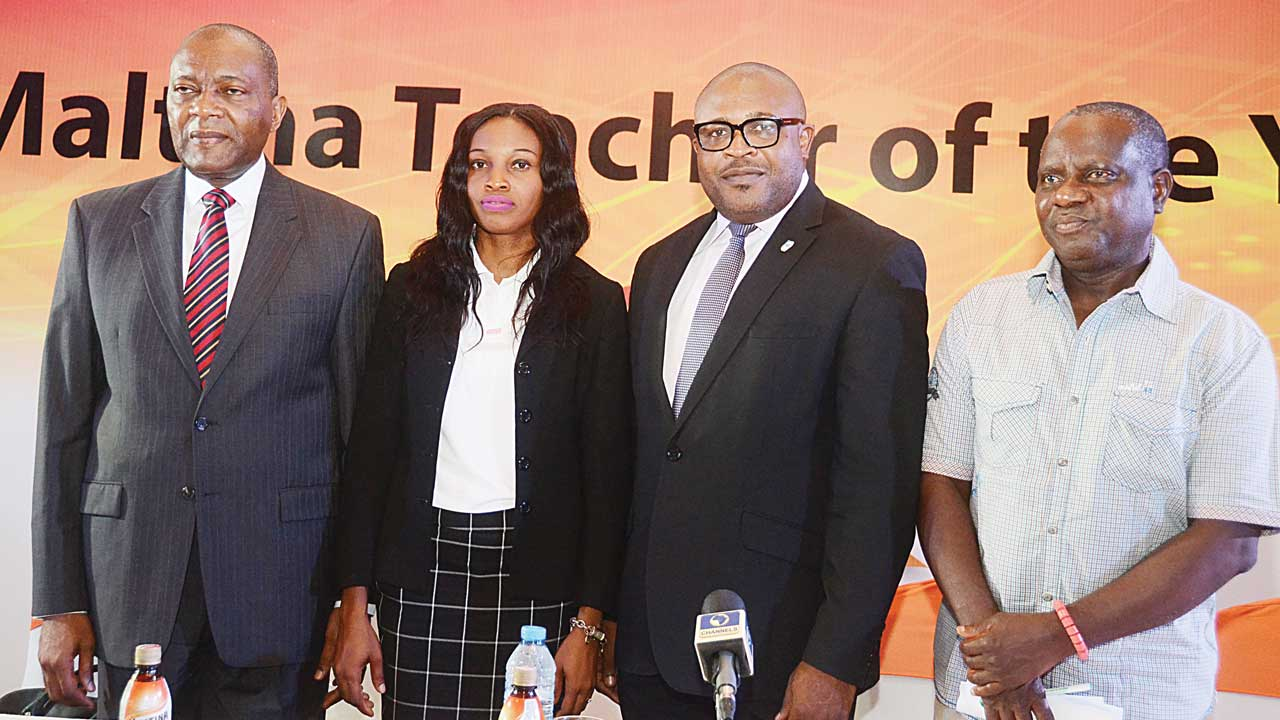 Human Resources Director, Nigerian Breweries (NB)Plc, Mr. Victor Famuyibo (left); 2015 Maltina Teacher of the Year, Mrs. Rose Nkemdilim Obi; Corporate Affairs Adviser, NB, Mr. Kufre Ekanem; and Deputy General Secretary, Nigerian Union of Teachers (NUT), Mr. Wole Oyeniyi, during the formal opening of the 2016 Maltina Teacher of the Year competition in Lagos.