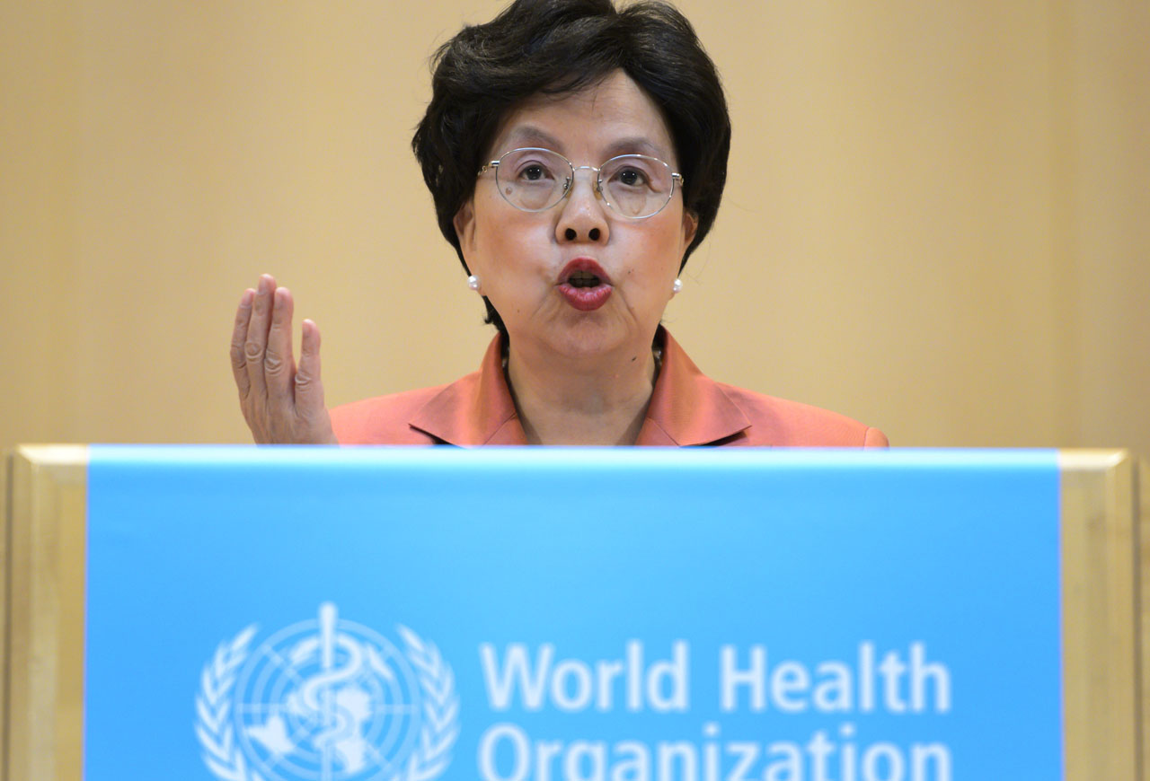 World Health Organization (WHO) Director-General Margaret Chan delivers her speech during the World Health Assembly, with some 3,000 delegates from its 194 member states on May 23, 2016 in Geneva. On May 23. / AFP PHOTO / FABRICE COFFRINI