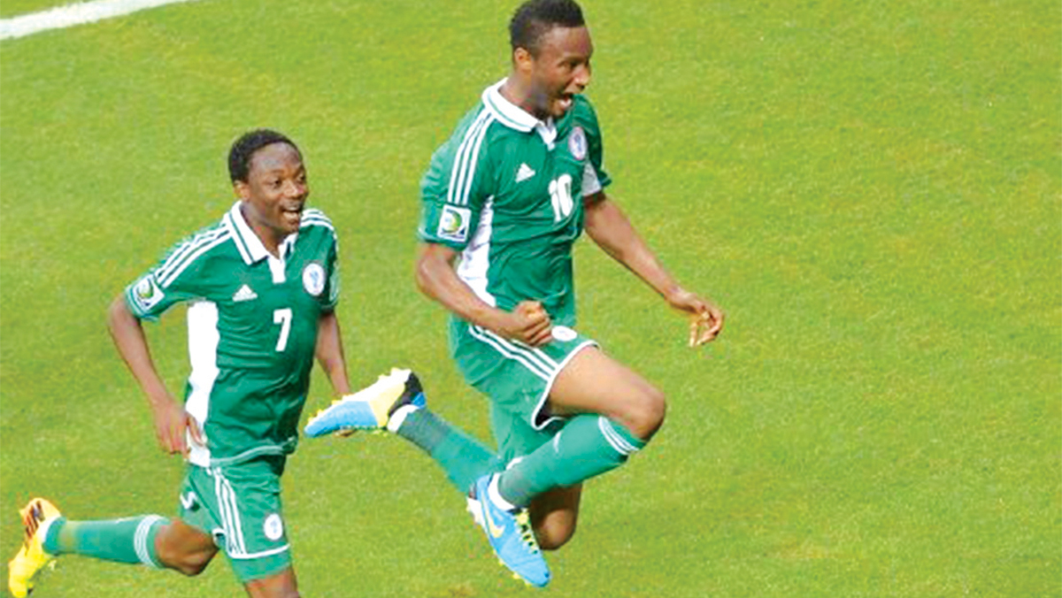 Mikel and Ahmed Musa celebrate victory…They have been released by NFF for Yobo testimonial game.