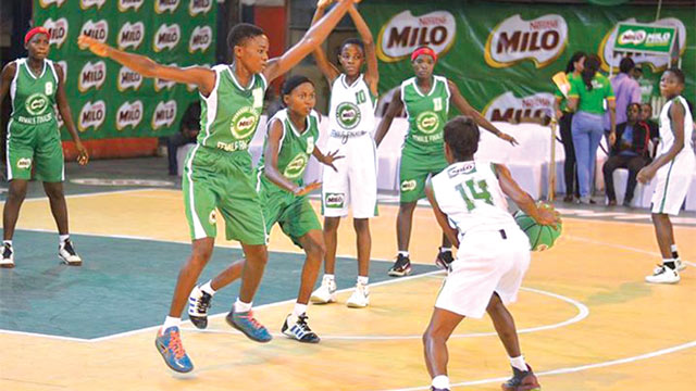 St. Jude's Girls Secondary School, Amarata, Bayelsa State in action at the Nestle Milo Basketball Championship.
