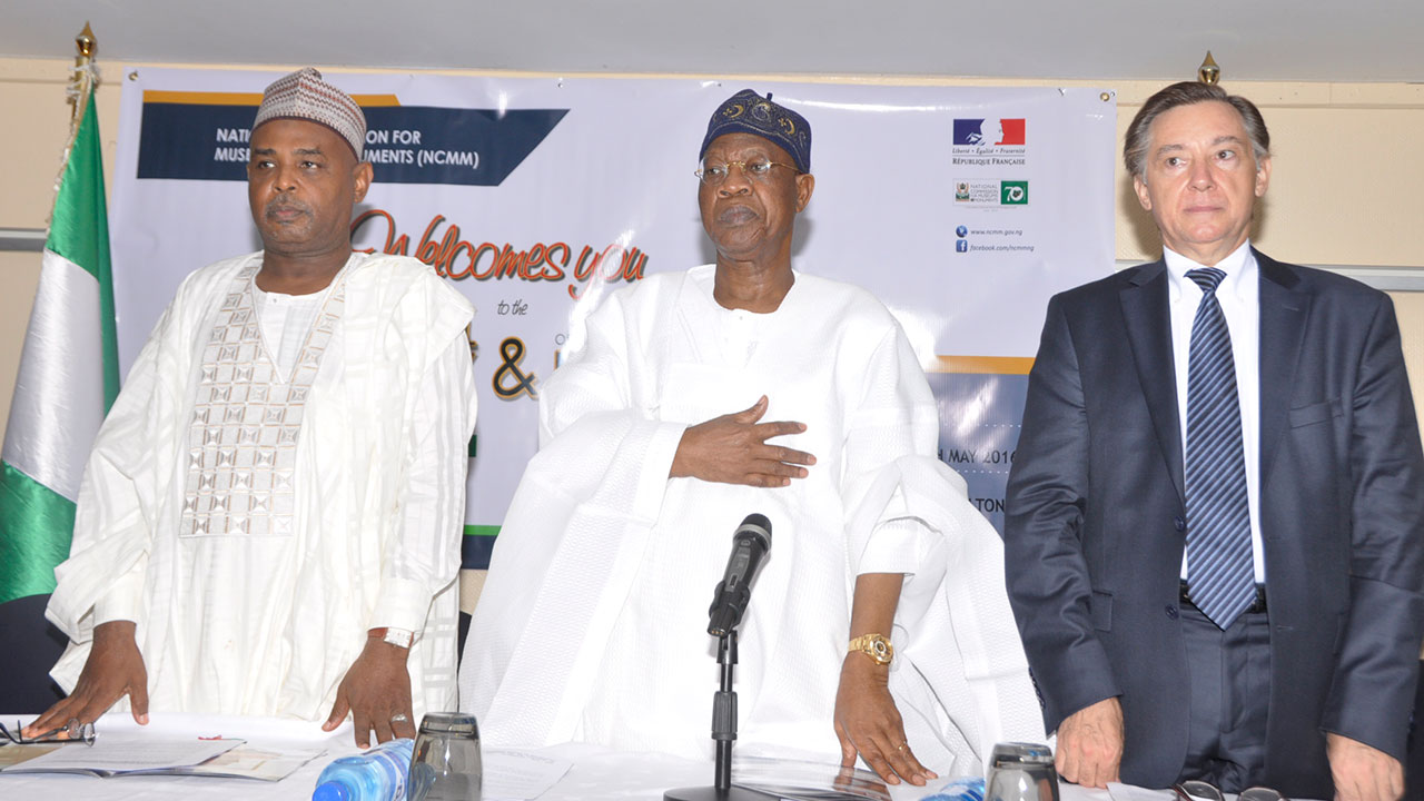 French Ambassador to Nigeria, Mr. Denys Gauer (right) Minister of Information and Culture, Alhaji Lai Mohammed; Director General, National Commission for Museums and Monuments, Yusuf Abdallah at the 2016 International Museums Day Celebration in Abuja...Last Wednesday.