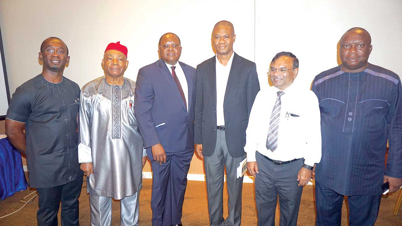 Maduabuchukwu Okeke of Anammco Ltd (left); Chairman, Motor Vehicles & Miscellaneous Assembly Sectorial Group, Dr. David Obi; Chairman, Nigeria Automotive Manufacturers Association (NAMA), Tokunbo Aromolaran; Aderungboye Adewole of PAN Nigeria Ltd; Plant Head, Stallion Nissan Motors Nigeria, Prakash Kharat; and Consultant, Anammco Ltd, Babatunde Kolade, at NAMA's special media conference held in Lagos.