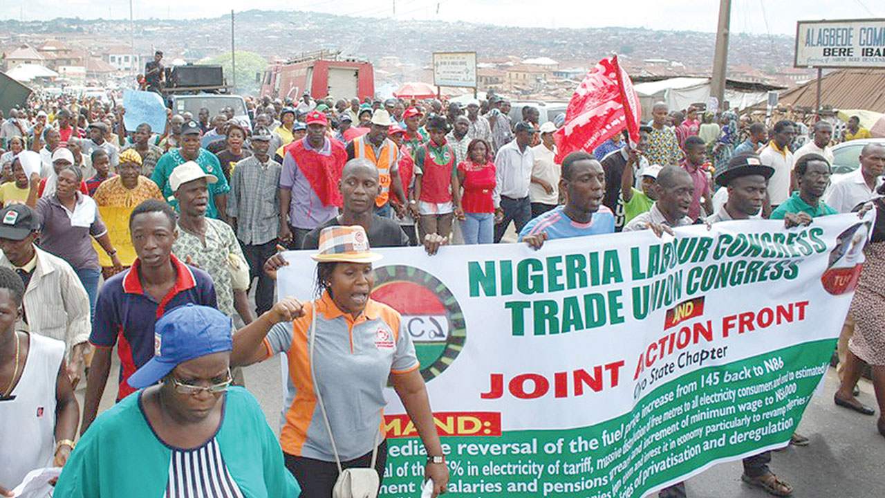 A Nigeria Labour Congress (NLC) rally in Ibadan, Oyo State… on Wednesday. PHOTO: NAJEEM RAHEEM
