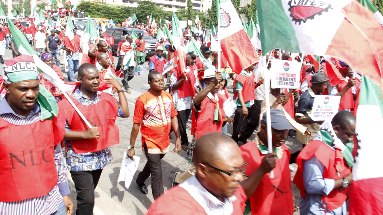 Members of the Nigeria Labour Congress(NLC) and Civil Society Organisations protesting against fuel increase yesterda. PHOTO: Ladidi Lucy Elukpo.