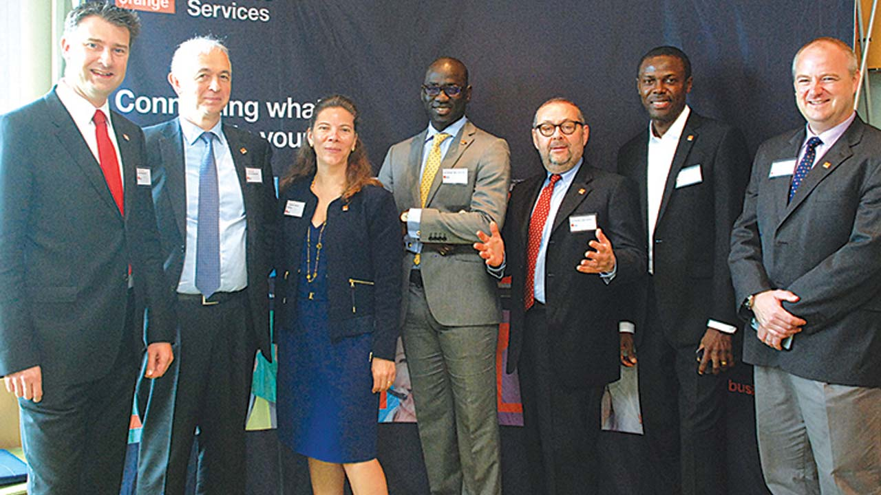 Country Manager, South Africa, Sales Director, Sub-Sahara Africa, Orange Business Services, (OBS) Yannick Decaux (left); Senior Vice President, Emerging Markets and Indirect, OBS, Philippe Keobel; Vice President, Sales, Marketing and Solutions Emerging Markets and Indirect, Isabelle Larquin; Salea Manager, West and Central Africa, Ababacar Mbaye; Vice President, Head, Africa Emerging Markets and Indirect Channels, Giorgio Heiman; Head of Operations Nigeria, Bamidele S. Oladejo and Director, Chief Technical Officer, Mark McCallum at the Media Launch of Orange Business in Lagos…yesterday PHOTO: FEMI ADEBESIN-KUTI