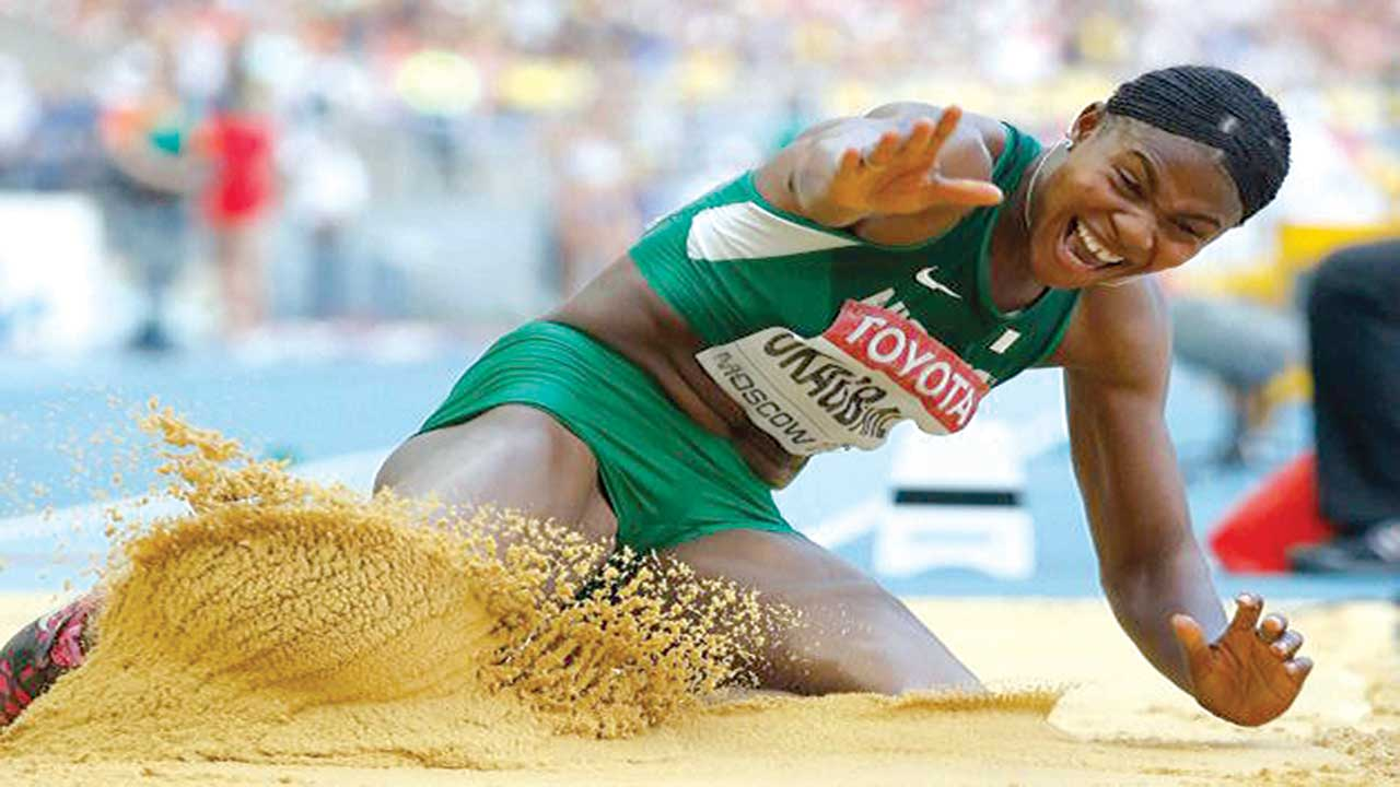 Blessing Okagbare in a long jump event.