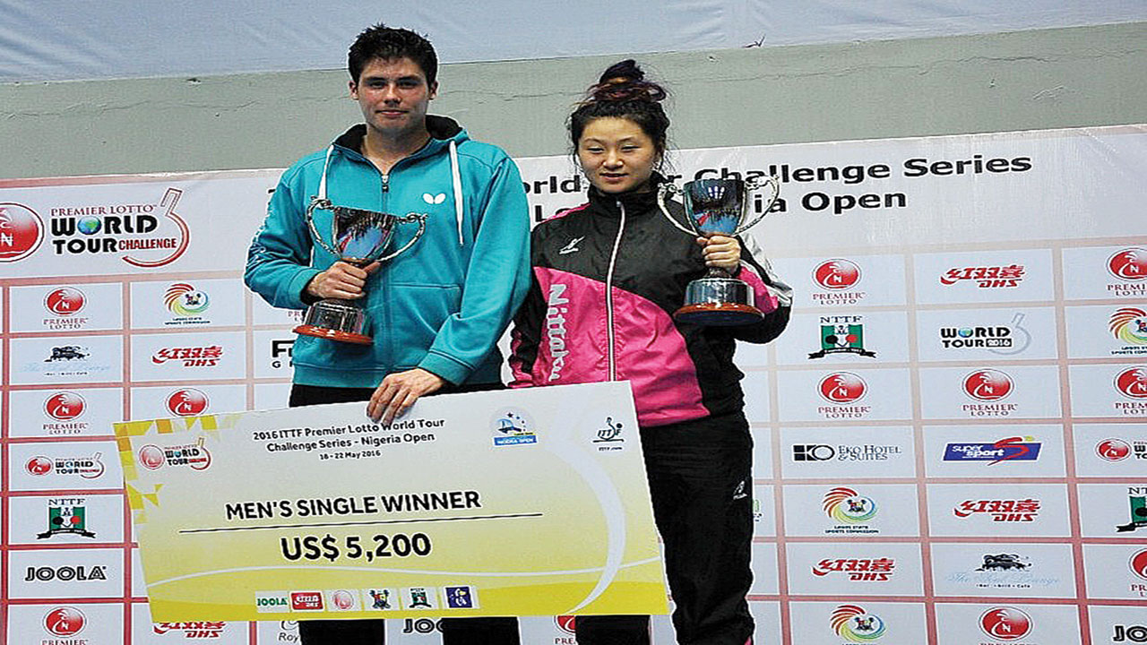 Finland's Benedek Olah (left) and Jieni Shao won the Men and Women's Singles title of the ITTF World Tour Premier Lotto Nigeria Open, which ended at the Teslim Balogun Stadium, Lagos… on Sunday.