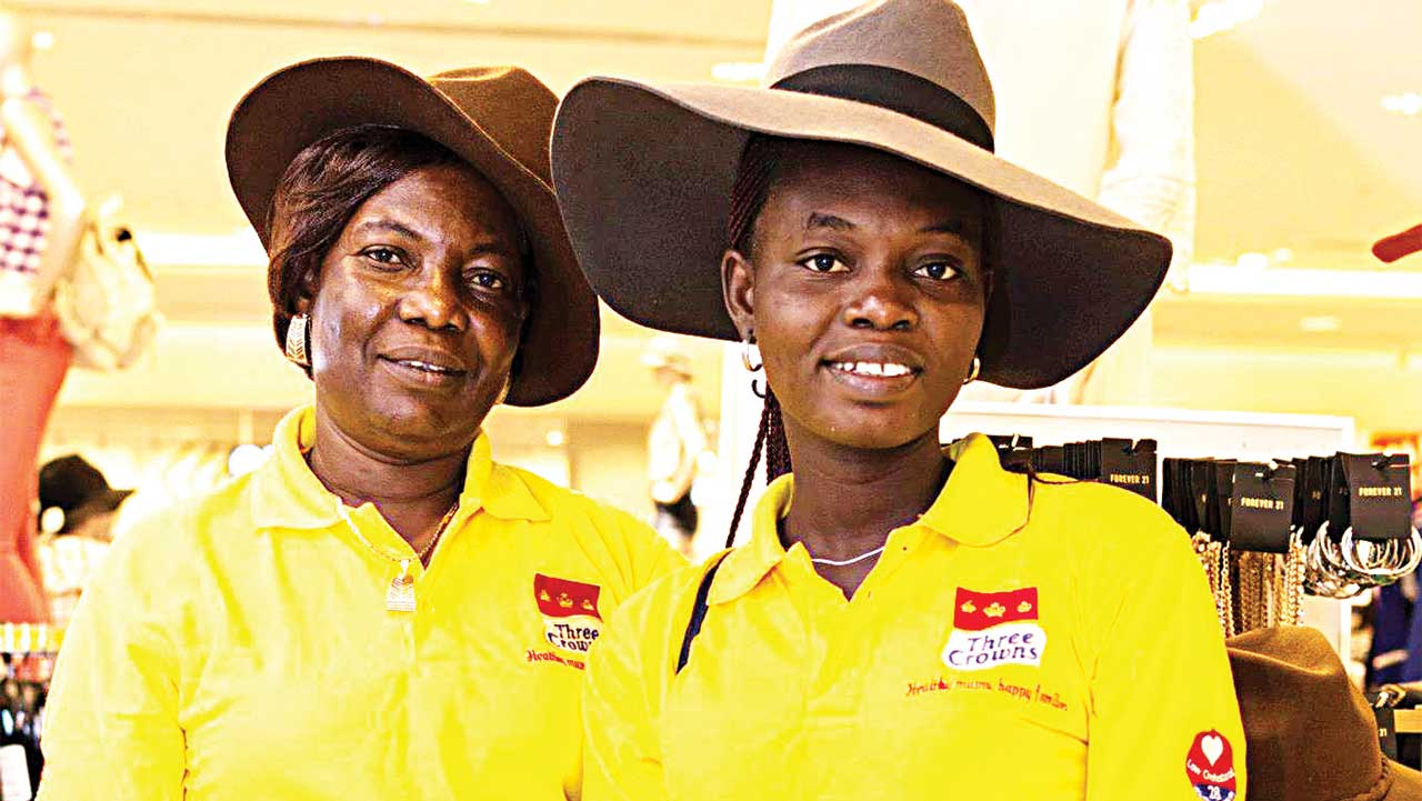 Mrs Olaleye in Dubai with daughter