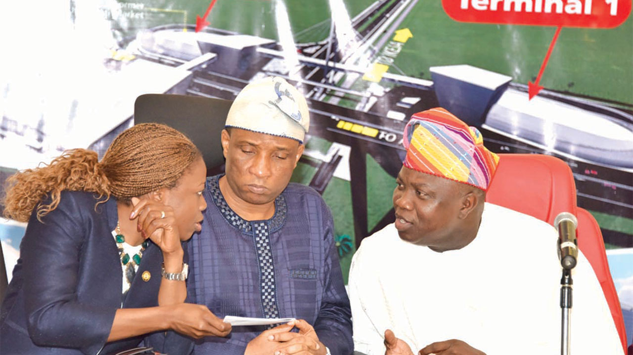 Lagos State Governor Akinwunmi Ambode (right); Secretary to the State Government, Tunji Bello and Special Adviser to the Governor on Urban Development, Yetunde Onabule during a meeting with transport union leaders, Oshodi on the construction of the Oshodi Transport Interchange at the Banquet Hall, Lagos House, Ikeja… yesterday.