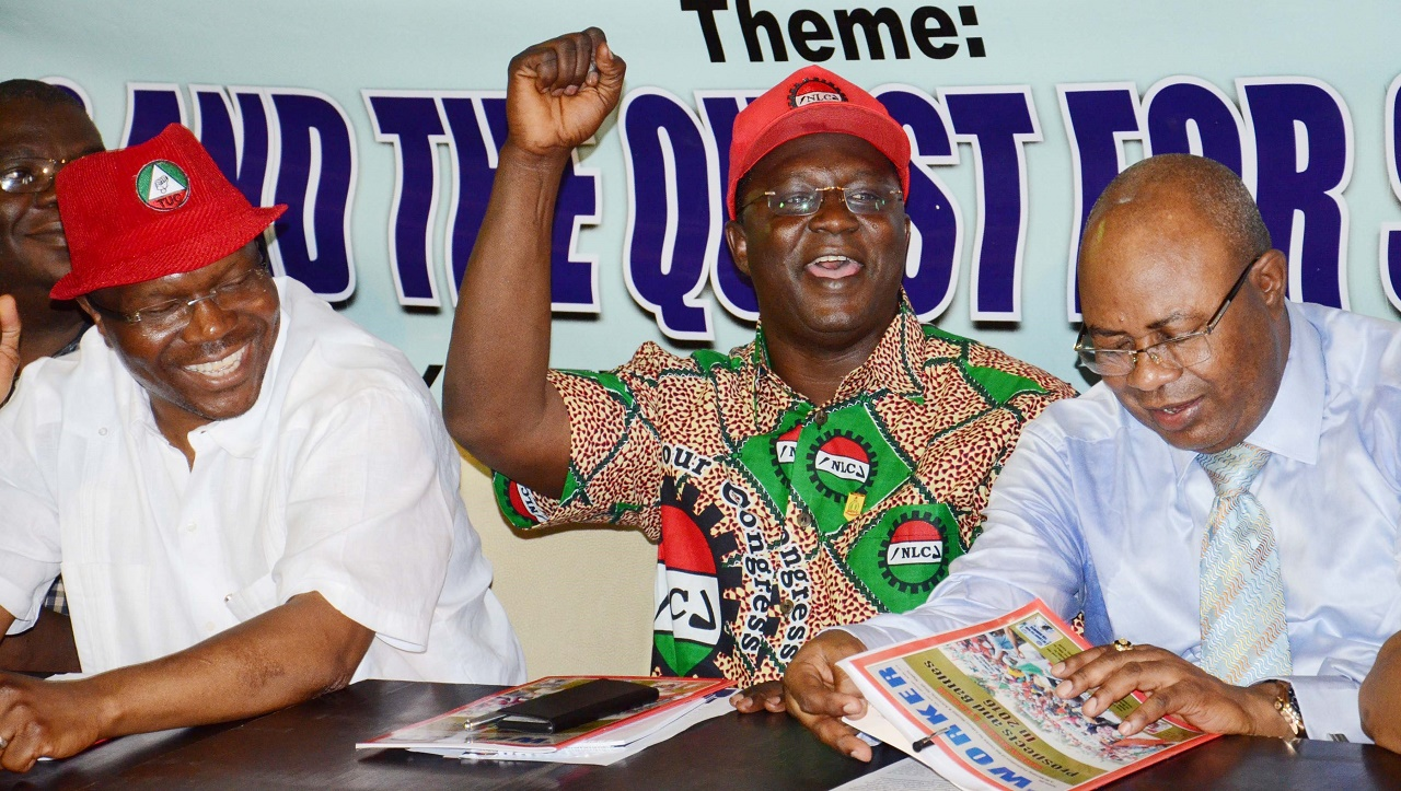 President Trade Union Congress, Comrade Bobo Kaigama; President of Nigeria Labour Congress, Comrade Ayuba Wabba and Deputy President of the NLC, Comrade Peters Adeyemi at the Pre-May Day Lecture in Abuja on Saturday April 30, 2016. PHOTO: NAN