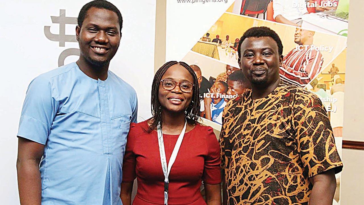 (L-r): Olusola Amusan, Citizenship Lead, Microsoft Nigeria; Olamide Egbayelo, Digital Media Manager, Paradigm Initiative Nigeria and Gbenga Sesan, Executive Director, Paradigm Initiative Nigeria, during the Microsoft Nigeria Tech4Good event held in Lagos