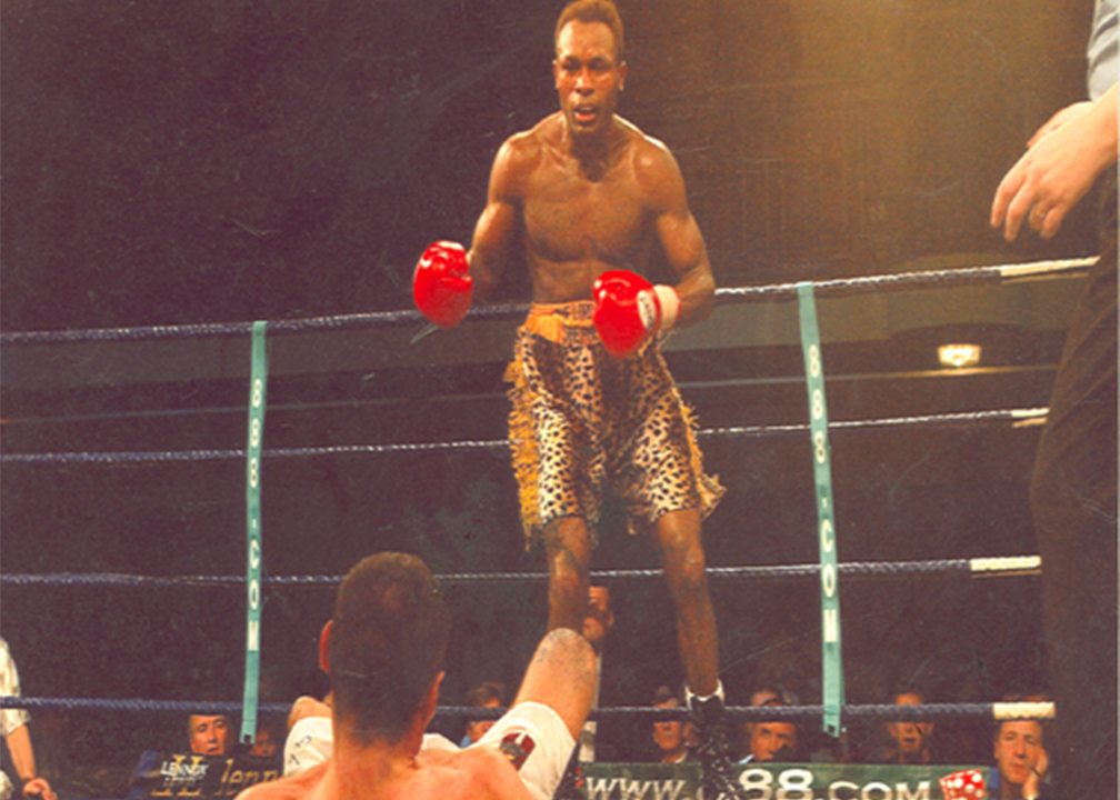 Off you go….Oboh knocked down his opponent in one of his title fights in Europe
