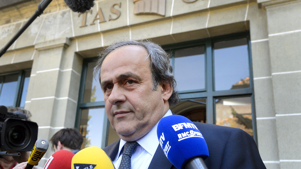 (FILES) This file photo taken on April 29, 2016 shows UEFA's fallen chief Michel Platini leaving the Court of Arbitration for Sport (CAS) after his appeal hearing against his six-year FIFA ban for ethics violations in Lausanne. The Court of Arbitration for Sport will announce its decision on Michel Platini's appeal against his six-year FIFA ban on May 9, 2016, the tribunal announced on May 6.  / AFP PHOTO / FABRICE COFFRINI