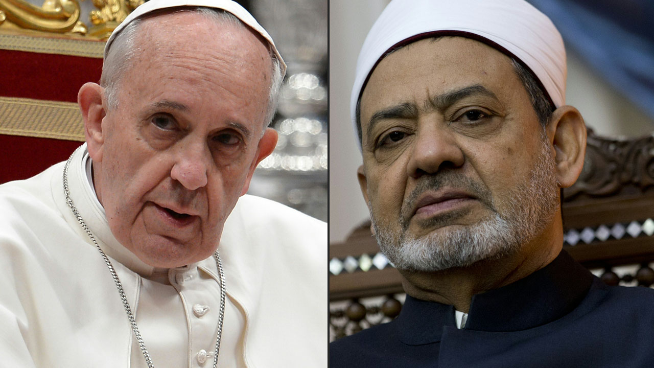 (COMBO) This combination of file pictures created on May 19, 2016 shows (L) Pope Francis arriving for a Profession of Faith with the Bishops of the Italian Episcopal Conference on May 23, 2013 at St Peter's basilica at the Vatican, and (R)Grand Imam of al-Azhar Sheikh Ahmed al-Tayeb looking on during a meeting with french prime minister Manuel Valls at the al-Azhar headquarters in Cairo on October 11, 2015.   Pope Francis is to receive the spiritual leader of the world's Sunni Muslims at the Vatican, the pontiff's spokesman told AFP on May 19, 2017. Sheikh Ahmed al-Tayeb, the grand imam of Cairo's Al-Azhar, the most prestigious institution in Sunni Islam, will meet the leader of world's 1.2 billion Catholics on May 23, 2016, Father Federico Lombardi said.  / AFP PHOTO / FILIPPO MONTEFORTE AND KENZO TRIBOUILLARD