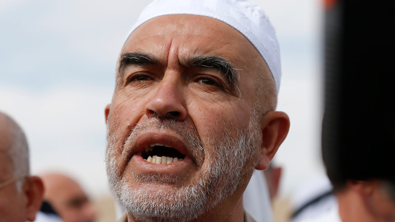 Arab-Israeli Sheikh Raed Salah, the leader of the radical northern wing of the Islamic Movement in Israel, arrives at the Eshel prison in the southern Israeli city.