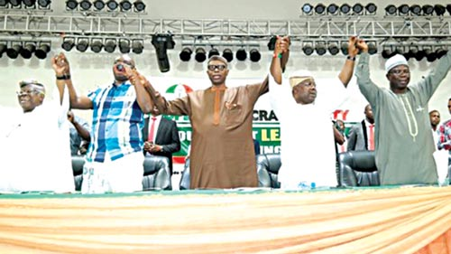 Chief Bode George (left), Govs Ayodele Fayose, Olusegun Mimiko, and Iyiola Omisore, a party member at the South West PDP Leaders Meeting in Akure, Ondo State.