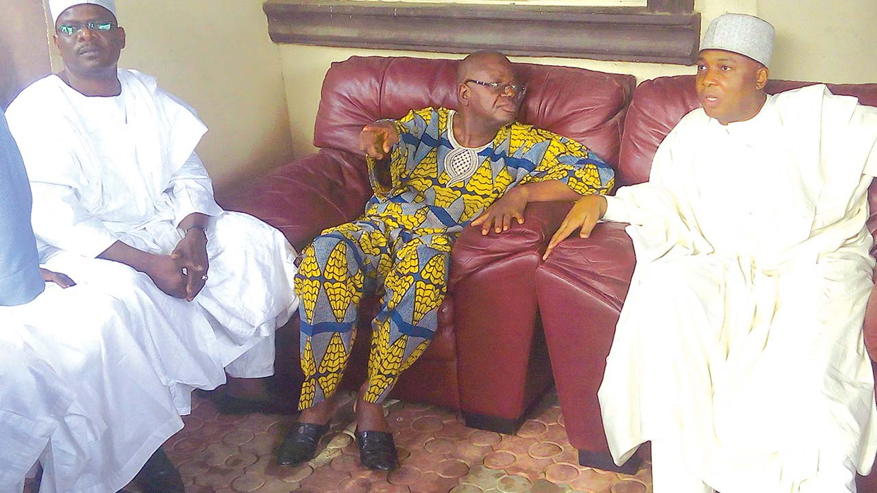 Senate President Bukola Saraki (right) during a condolence visit to Senator Donald Tayo Alasoadura (middle) who lost his wife, Adetayo, on Thursday in Akure, Ondo State…yesterday. With them is Senator Ali Ndume.