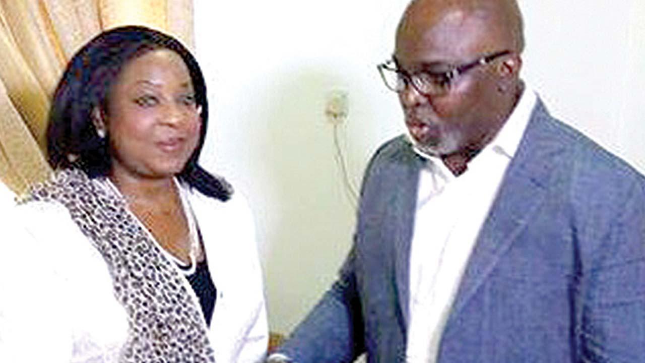 NFF President Amaju Pinnick and FIFA Secretary General Samoura yesterday in Abuja