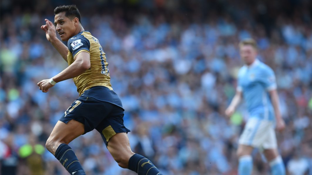 Arsenal's Chilean striker Alexis Sanchez celebrates after scoring during the English Premier League football match between Manchester City and Arsenal at the Etihad Stadium in Manchester, north west England, on May 8, 2016. / AFP PHOTO / PAUL ELLIS