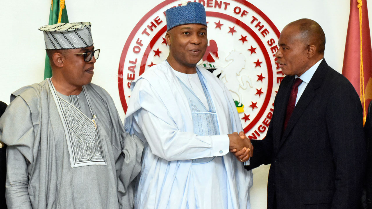 Chairman, Senate Committee on Land Transport, Senator Gbenga Ashafa,Senate President, Dr. Abubakar Bukola Saraki and Chairman,Technical Committee on Railways Reform Bill, Engineer Chris Okoye  during a courtesy visit by the Technical Committee on Railways to the Senate President in Abuja today 24/05/16.Photo Ladidi Lucy Elukpo.