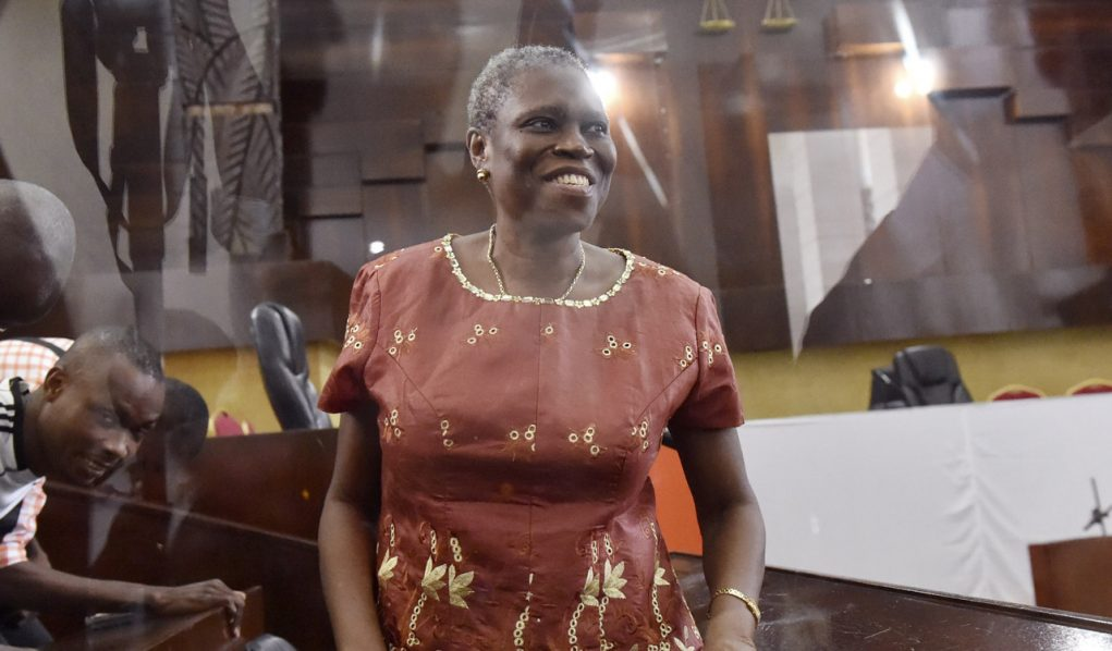 Ivory Coast's former first lady Simone Gbagboattending the opening hearing of her trial on charges of crimes against humanity for her alleged role in the 2010 electoral violence, at the courthouse of Abidjan.<br />